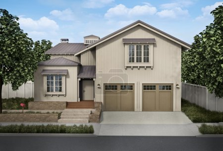 Photo for A large detached house; 3D rendered image - Royalty Free Image