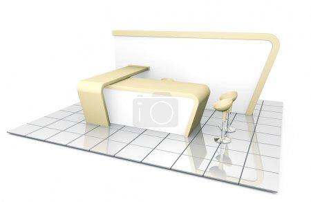 Photo pour Entreprise stand d'exposition commerciale. Illustration 3D . - image libre de droit