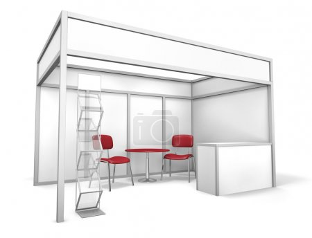 Photo for Empty trade event stand with chairs, table and brochure display. 3D rendered illustration - Royalty Free Image