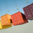 Four shipping containers during transport. 3D rend...