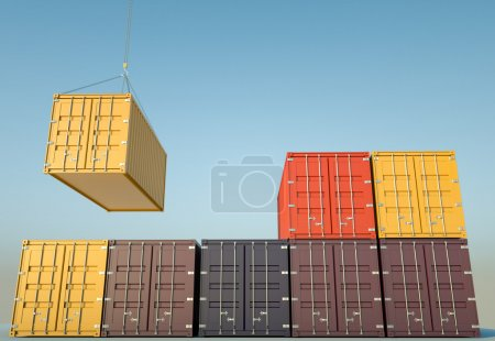 Cargo containers. 3D render.