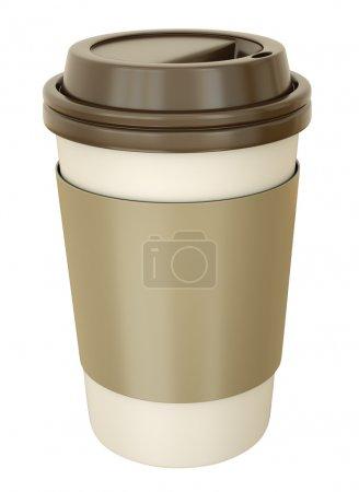 Photo pour Tasse de café à emporter avec couvercle. rendu 3D. - image libre de droit