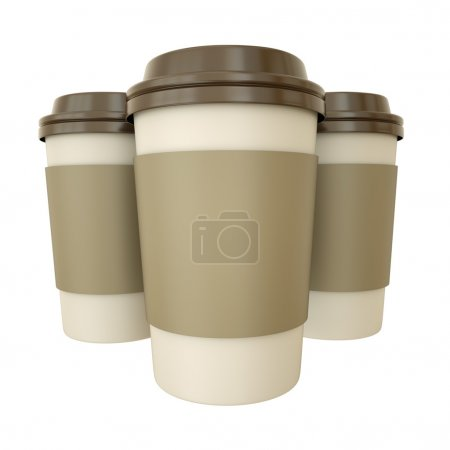 Photo for Three takeaway coffee cups. 3D render - Royalty Free Image