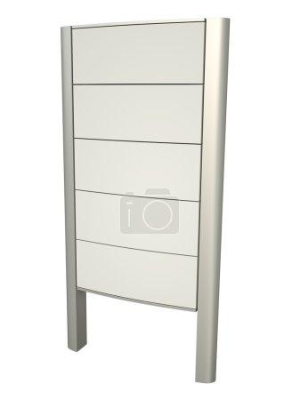 Photo pour Panneau en pylône blanc. Image rendue 3D . - image libre de droit