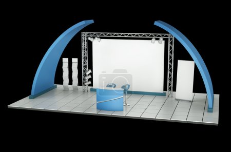 Photo for Tradeshow stand against a black background. 3D rendering. - Royalty Free Image