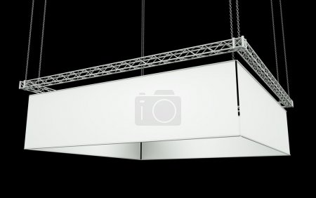 Photo for Blank four-sided hanging banner against a black background. 3D render. - Royalty Free Image