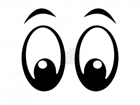 Photo for Illustration of black and white cartoon eyes - Royalty Free Image