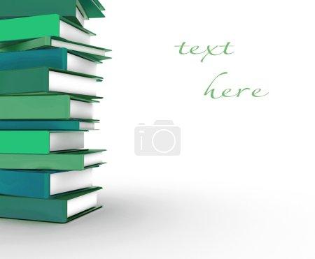 Stapel von bunten Büchern auf weißem Hintergrund