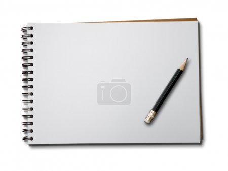Photo for Blank one face white paper notebook horizontal with black pencil - Royalty Free Image