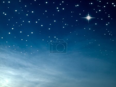 Photo for Starry night many bright star in blue sky - Royalty Free Image