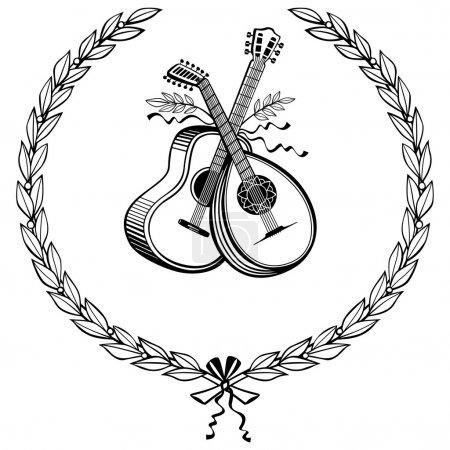 Laurel wreath with instruments
