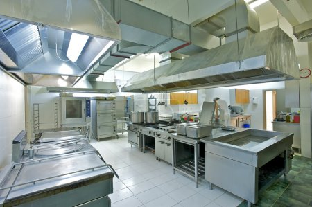 Overview of a professional kitchen with all the ma...