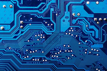 Photo for Blue digital circuit board background (pc motherboard) - Royalty Free Image