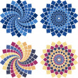 Vector mosaic flower in different colors and style...