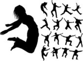 Silhouettes of jumping