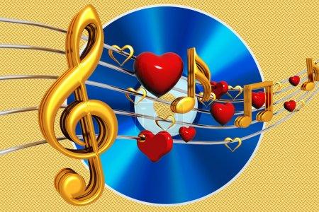 Photo pour Notes clés musicales et cd bleu sur fond or - image libre de droit