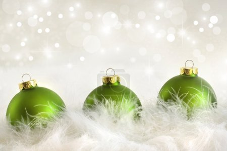 Photo for Green Christmas balls with holiday background - Royalty Free Image