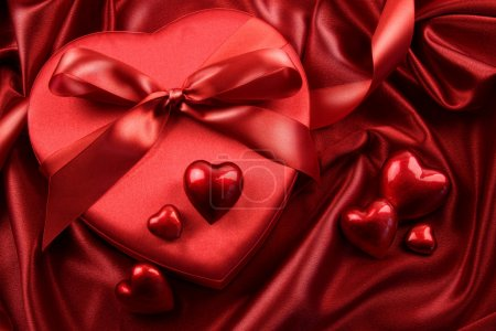 Photo for Box of chocolates with ribbons and hearts - Royalty Free Image