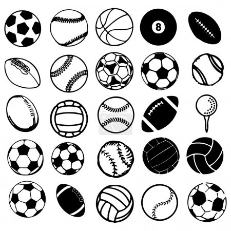 Illustration for Set Ball sports icons symbols comic vector illustration - Royalty Free Image