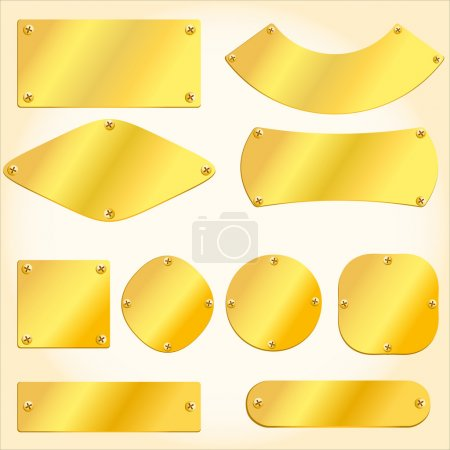 Illustration for Old golden plates and signboards - Royalty Free Image
