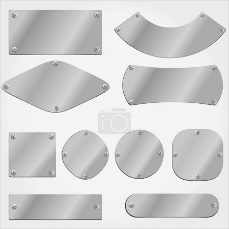 Vector metal plates set, grouped objects, fully editable