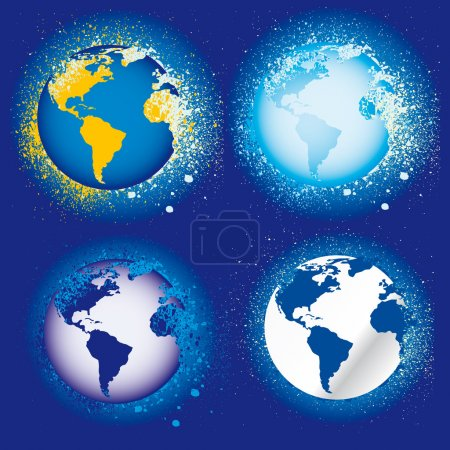 Collection of earth globes a map grunge