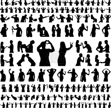 Hundreds Of Silhouettes - Vector