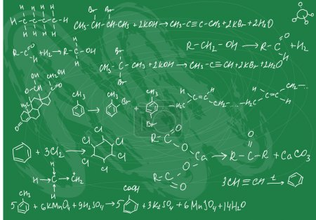 Illustration for Vector illustration of seamless chemistry formulas on the green slate background - Royalty Free Image