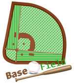 Baseball field layout bat and ball Each element on separate layer
