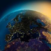 """Постер, картина, фотообои """"Ночная точка зрения Европы со спутника"""""""