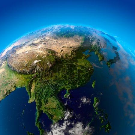 Photo pour Inde, Chine, Mongolie et Japon. La vue depuis les satellites - image libre de droit