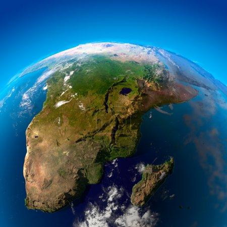 Photo pour Afrique du Sud, Namibie, Botswana, Zimbabwe, Mozambique et Madagascar. La vue depuis les satellites - image libre de droit