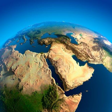 Photo pour Égypte, Soudan, Éthiopie, Somalie, Arabie saoudite et autres pays du Moyen-Orient. La vue depuis les satellites - image libre de droit