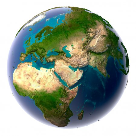 Photo for Earth with translucent water in the oceans and the detailed topography of the continents - Royalty Free Image