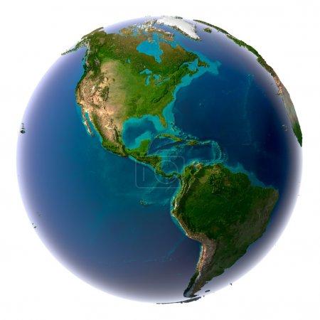 Photo pour Terre d'eau translucide dans les océans et la topographie détaillée des continents - image libre de droit