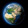 Planet earth with translucent water of the oceans,...