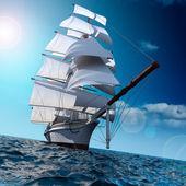 Постер Парусный корабль в море