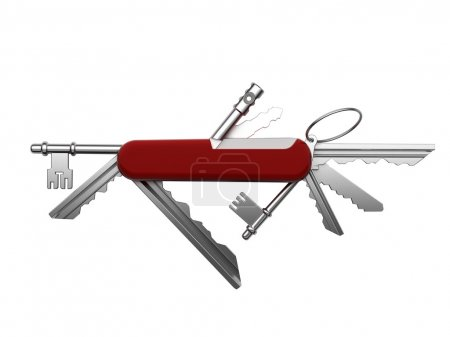 Photo pour Métaphore créative des clés universelles du domaine dans un seul outil basé sur le couteau de poche suisse - image libre de droit
