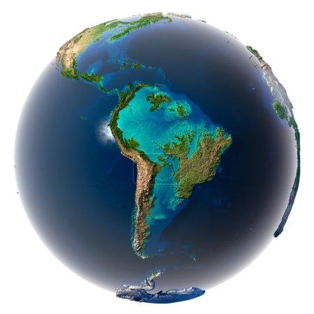 Photo pour Les glaciers ont fondu, la quantité d'eau dans les océans a augmenté et ils ont inondé les continents. Fantastique prédiction de l'avenir possible. La Terre sur un blanc - image libre de droit