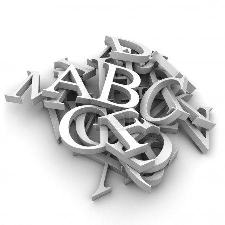 Photo pour Lettres latines versé dans un segment de mémoire, isolé sur fond blanc - image libre de droit