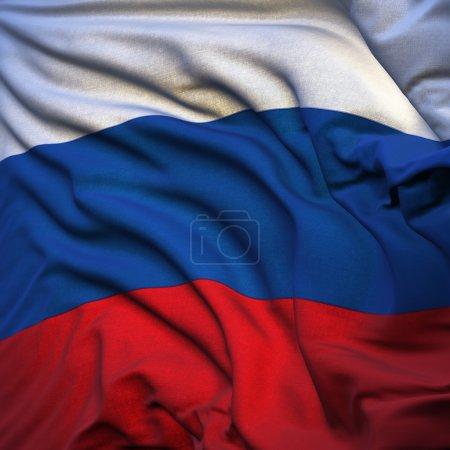 Photo pour Drapeau russe, flottant dans la brise, soleil levant rétroéclairé. Cousu à partir de morceaux de tissu, un drapeau d'état détaillé très réaliste avec la texture de tissu flutterin - image libre de droit