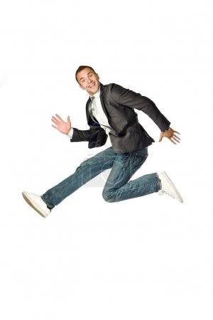 The businessman jumping on a white background