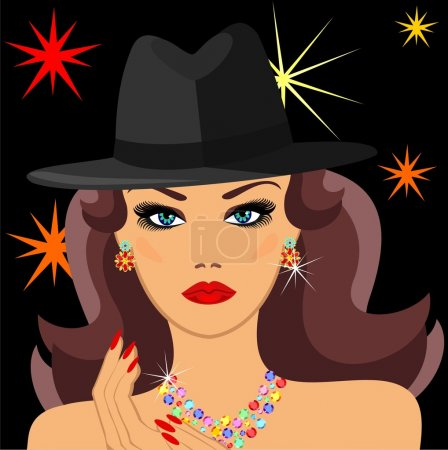 Illustration for Glamorous lady of the golden earrings and hats - Royalty Free Image