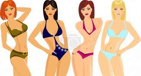 Illustration for Bikini Girls with different color hair and skin - Royalty Free Image