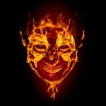 Fire devil face on black background...
