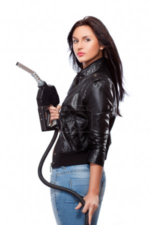 Woman with nozzle