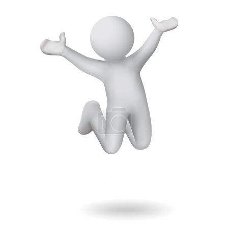 Photo pour Silhouette grise montre une humeur joyeuse sauter vers le haut - image libre de droit