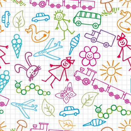 Children's drawings. Doodle background.