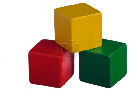Photo for Colorful wooden childen's building blocks isolated on white background - Royalty Free Image