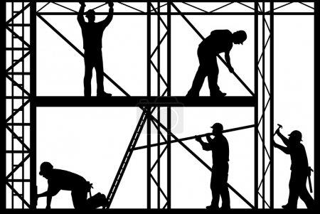 Illustration pour Silhouette de travailleurs de la construction isolée sur fond blanc - image libre de droit
